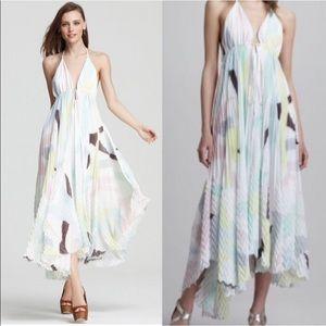 Alice + Olivia large Maxi Dress Halter Pleated